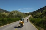 Pedaleando junto a los hermanos húngaros en mis primeros kilómetros por territorio chileno.