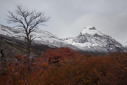 Recorriendo los valles que rodean El Chaltén. Las nieves caídas el día anterior han pintado las montañas de blanco.