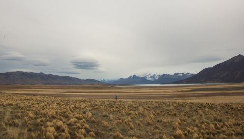 Frank con el glaciar Perito Moreno al fondo.