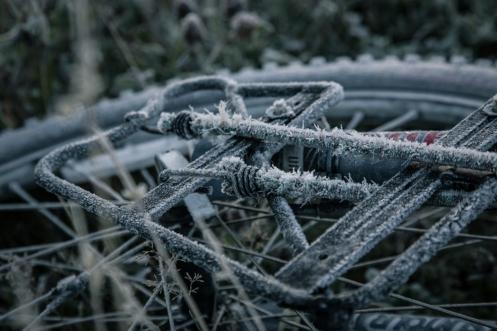 Buenos días. Asi amaneció mi bicicleta por la mañana tras una fría noche patagónica de otoño.
