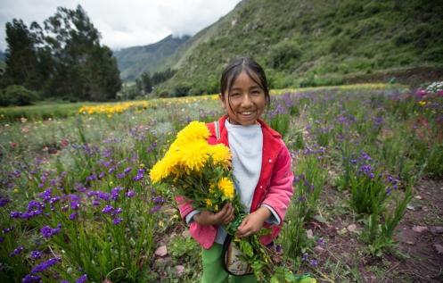 """Maria Fernanda tiene 10 años y trabaja con sus padres cosechando flores en el pueblo de Urco. Su nombre artístico es """"Rosita de Calca"""" una gran cantante que desborda talento."""