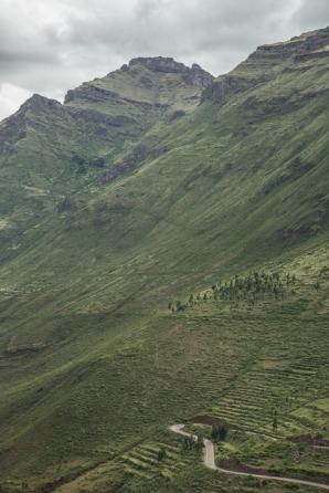 Las carreteras ascienden por las verdes montañas en perfectas curvas que se suceden una tras otra