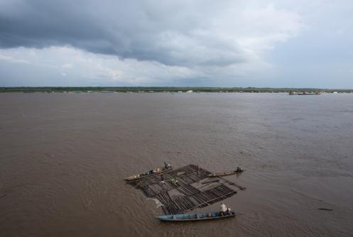 Bajada de troncos por el río Ucayali