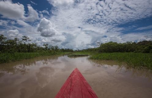 Navegando por los canales que la época de lluvias deja a lo largo de la selva.