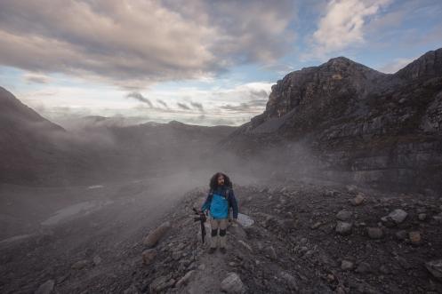 Ascendiendo hacia los glaciares de las montañas que se encuentran a los 5000 msnm