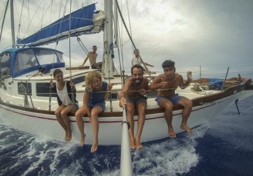 Nos sentamos en la cubierta a disfrutar de los delfines saltar frente a nosotros.