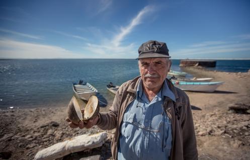 Manuel nació en Sonalá, una zona montañosa de Mexico, y por azares del destino ahora se encuentra viviendo bajo el viejo faro de Guerrero Negro. Almejas como la que sostiene en su mano se encuentran en estas aguas.