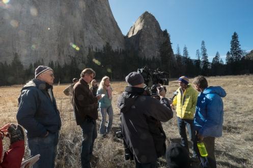 Tommy Caldwel y Kevin Jorgeson atienden a la prensa tras 19 días de escalada.
