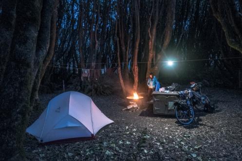 Campamento en el camping de Gualala.