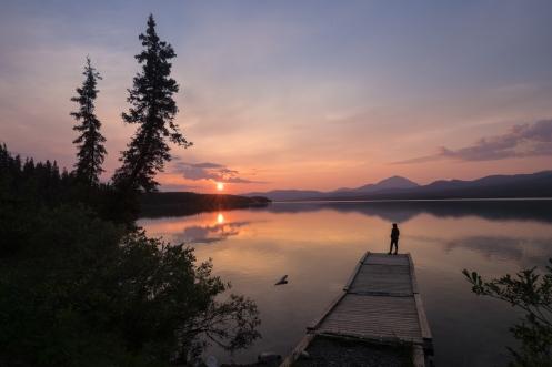 Despedimos el día frente al lago Squanga, en el Yukon.